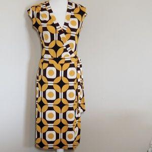 Bisou Bisou Geometric Print Wrap Dress w/Capped Sl